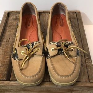 Sperry glitter cheetah print leather  loafers